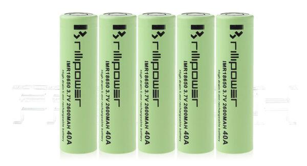 IMR 18650 3.7V 2600mAh Rechargeable Li-Mn Battery (5-Pack)