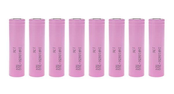 INR 18650-30Q 3.6V 3000mAh Rechargeable Li-ion Batteries (8-Pack)