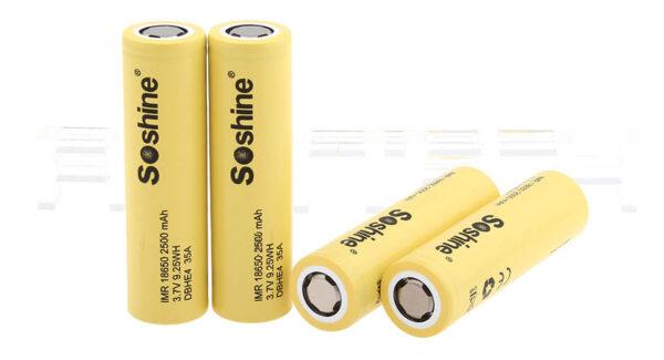 Soshine IMR 18650 2500mAh Rechargeable Li-ion Battery (4-Pack)