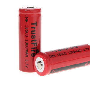 "TrustFire IMR 18500 3.7V ""1300mAh"" Rechargeable Li-Ion Batteries (2-Pack)"