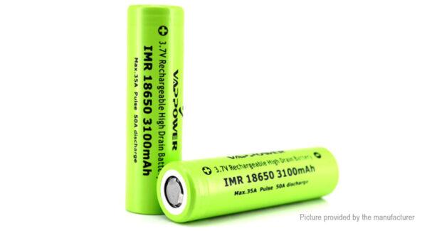 VAPPOWER IMR 18650 3.6V 3100mAh Rechargeable Li-ion Batteries (2-Pack)