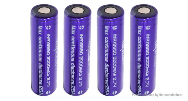 Vapcell 18650 3.7V 3000mAh Rechargeable Li-ion Battery (4-Pack)