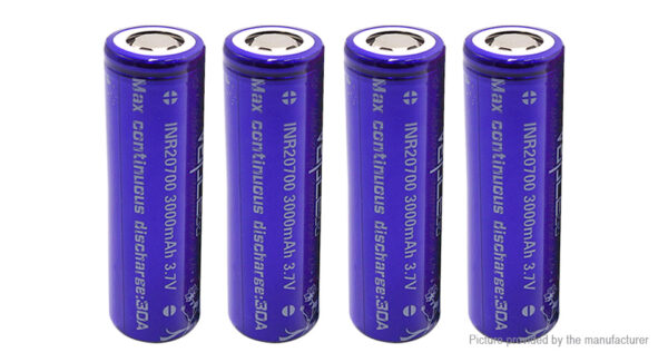 Vapcell 20700 3.7V 3000mAh Rechargeable Li-ion Battery (4-Pack)