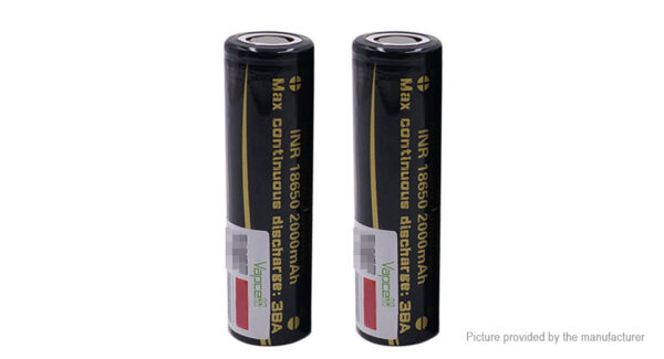 Vapcell INR 18650 3.7V 2000mAh Rechargeable Li-ion Battery (2-Pack)