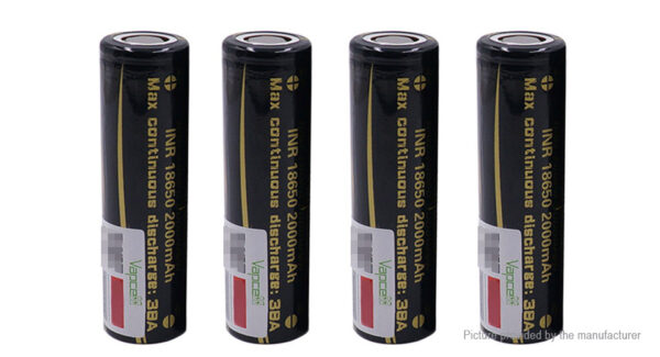 Vapcell INR 18650 3.7V 2000mAh Rechargeable Li-ion Battery (4-Pack)