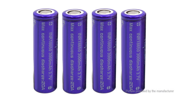 Vapcell INR 18650 3.7V 3000mAh Rechargeable Li-ion Battery (4-Pack)