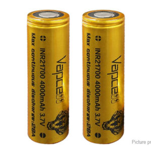 Vapcell INR 21700 3.6V 4000mAh Rechargeable Li-ion Battery (2-Pack)