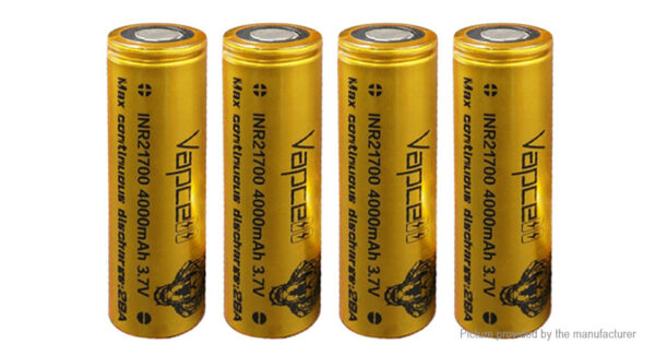Vapcell INR 21700 3.6V 4000mAh Rechargeable Li-ion Battery (4-Pack)