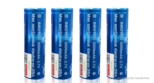 Vapcell INR 21700 3.7V 3000mAh Rechargeable Li-ion Battery (4-Pack)
