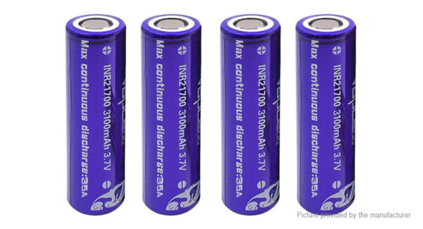 Vapcell INR 21700 3.7V 3100mAh Rechargeable Li-ion Battery (4-Pack)