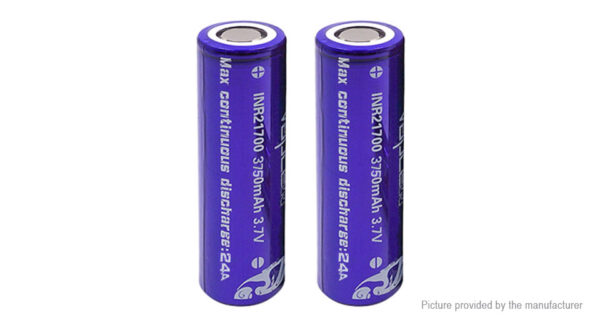 Vapcell INR 21700 3.7V 3750mAh Rechargeable Li-ion Battery (2-Pack)
