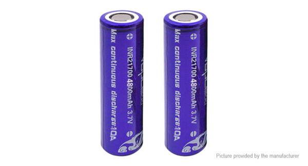 Vapcell INR 21700 3.7V 4800mAh Rechargeable Li-ion Battery (2-Pack)