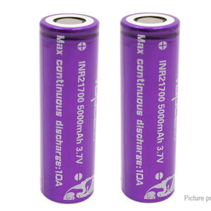 Vapcell INR 21700 3.7V 5000mAh Rechargeable Li-ion Battery (2-Pack)
