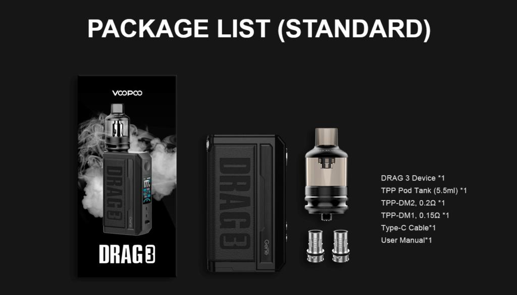 Voopoo Drag 3 package list image